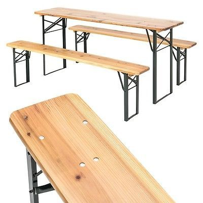 Folding Garden Dining Set Wooden Table 2 Benches Outdoor Patio Picnic Furniture image 2