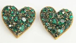 VINTAGE ESTATE Jewelry SIGNED WEISS RARE GREEN RHINESTONE HEART BROOCH 2... - $55.00