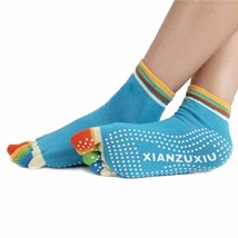 5-Toe Colorful Gym Non Slip Massage Toe Socks Full Grip Fabulous new ar... - $8.50