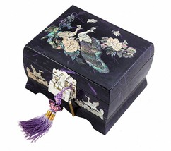 Jewelry Box Wood Jewel Case Organizer Watch Music Chest Box  Peacock 5Co... - €89,31 EUR