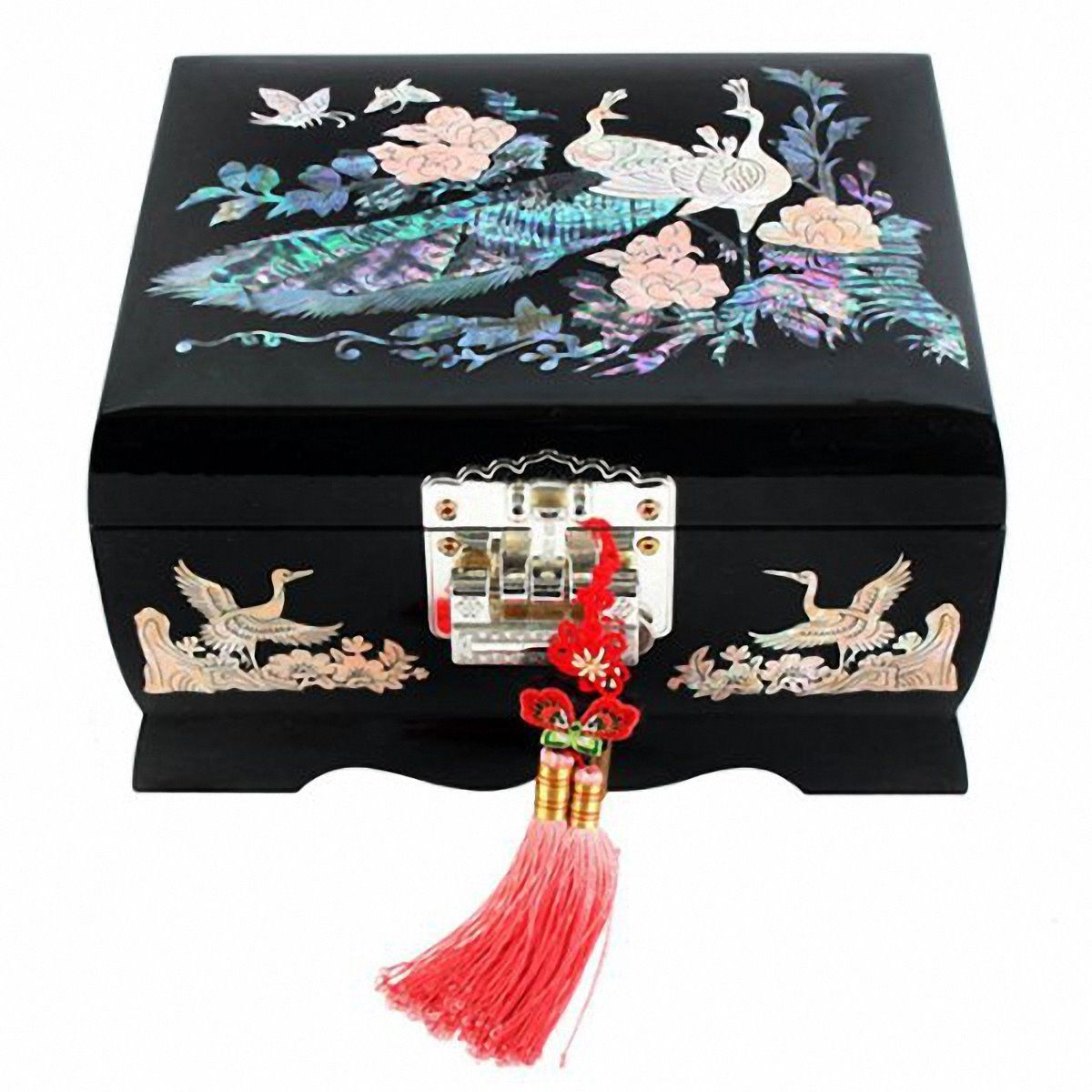 Jewelry Box Wood Jewel Case Organizer Watch Music Chest Box  Peacock 5Colors(B)