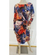 Nwt Adrianna Papell  Front Knot Work Jersey Sheath Dress Sz 10 Red Purple Floral - $69.25