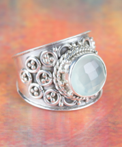 Amazing Faceted Aqua Chalcedony Gemstone Silver Ring All size BJR-387-ACC - $14.99