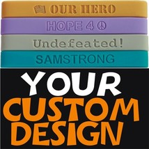 100 Custom Wristbands - IN MEMORY bands, you design Debossed Silicone Bracelets - $69.29