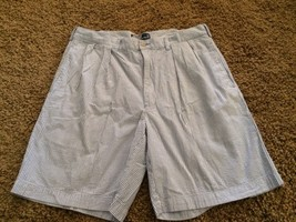 Men's Polo Ralph Lauren Tyler Shorts Blue White Seersucker 36 - Fast Ship! - $24.74