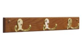 Wooden Mallet 3 Double Prong Hook Rail / Coat Rack, Brass / Medium Oak - $36.41