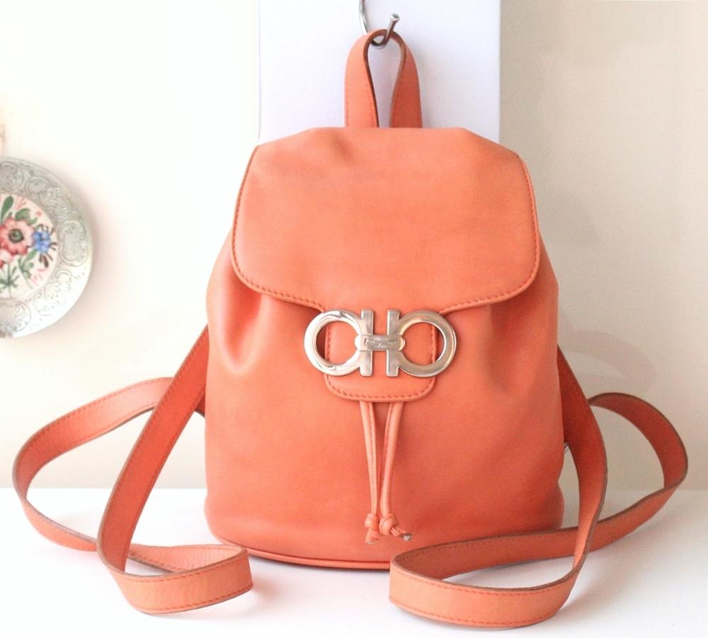 Ferragamo Gancini Backpack Orange Leather And 50 Similar Items Furla Metropolis Bronze Authentic 160728 01