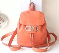 Ferragamo Gancini Backpack Orange Leather mini handbag purse authentic  - $400.00
