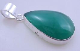 12 Gram Green Onyx Stone  Silver Overlay Handmade Pendant Jewelry - $6.29