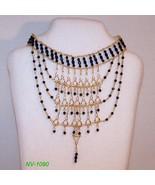 NV-1090 - Black Faceted Glass Beads W/GP Filigr... - $64.35