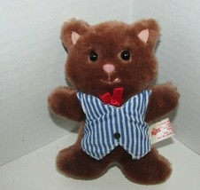 Vintage Russ Berrie Plush brown kitty cat blue striped vest red bow pink... - $8.90