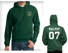 Malfoy 07 Slytherin Crest Pocket size Hoodie Deep forest - $45.00