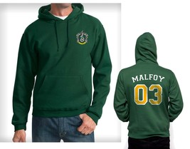 Malfoy 03 Yellow Slytherin Crest Pocket size Hoodie Deep forest - $45.00