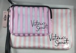 Set of 2 Victoria's Secret Striped Pink Makeup Bags - $21.49