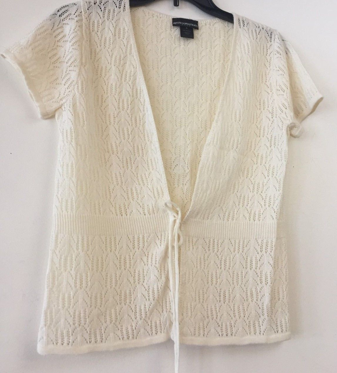 77829d67f0 PETITE SOPHISTICATE LIGHTWEIGHT OPEN KNIT COVER-UP SWEATER~CREAM~SIZE  S~NICE -  6.37