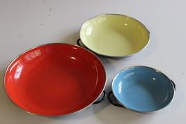 Set Of 3 Vintage Enamel Saute Pans Made In Yugo... - $26.72