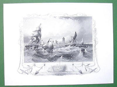 GERMANY Coast at Ostende Stormy Sea Fishing Boats - Antique Print Engraving