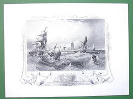 GERMANY Coast at Ostende Stormy Sea Fishing Boats - Antique Print Engraving - $16.20