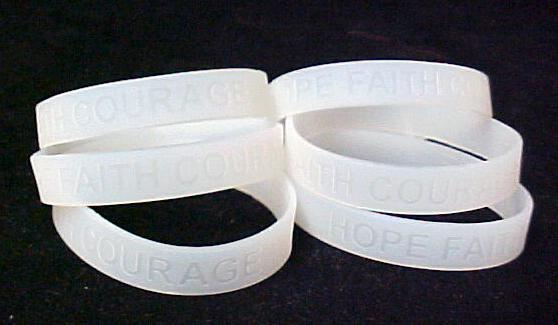 Lung Cancer Awareness Clear Translucent Silicone Bracelet 6 pc Lot Latex Free
