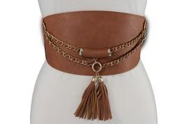 Women Belt Elastic Mocha Brown Wide Corset Hip High Waist Gold Chains Fr... - $16.65