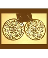 "Round FLOWER Style 18K Yellow Gold Overlay 2"" Chandelier Dangle Hook Ear... - $24.99"
