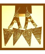 "Eiffel Tower TRIANGLE 18K Yellow Gold Overlay 4"" Chandelier Dangle Hook ... - $24.99"