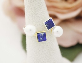 Lapis Lazuli and Pearl Gemstone Rings, Open square ring, Open pearl ring - $15.00