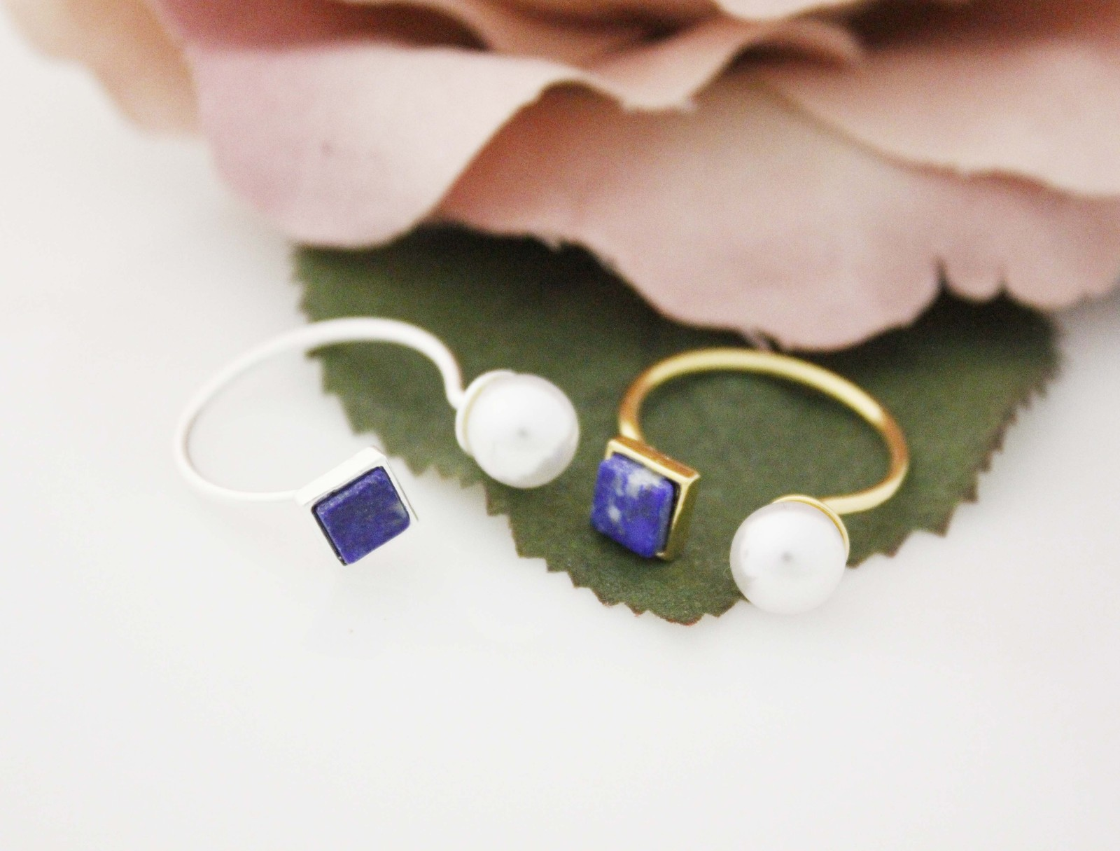 Lapis Lazuli and Pearl Gemstone Rings, Open square ring, Open pearl ring