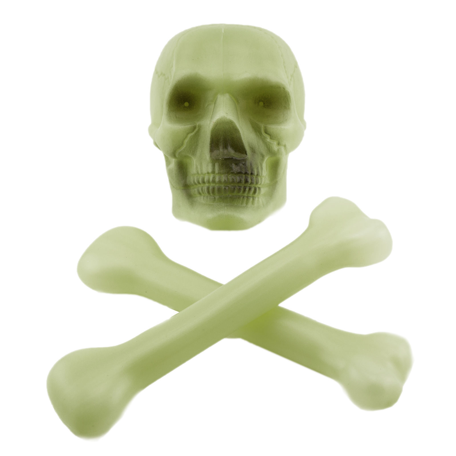 Plastic Glow in the Dark Skull and Cross Bones Halloween Skeleton Decoration Set