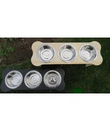 """TRIPLE DISH ELEVATED POLY FEEDER - 5""""h for SMALL DOG PUPPY Amish Handmad... - $127.37"""