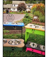 """ELEVATED POLY DOG FEEDER ~ 342 CUSTOM COMBOS ~ 5"""" Tall for Puppy / Small... - $91.08"""