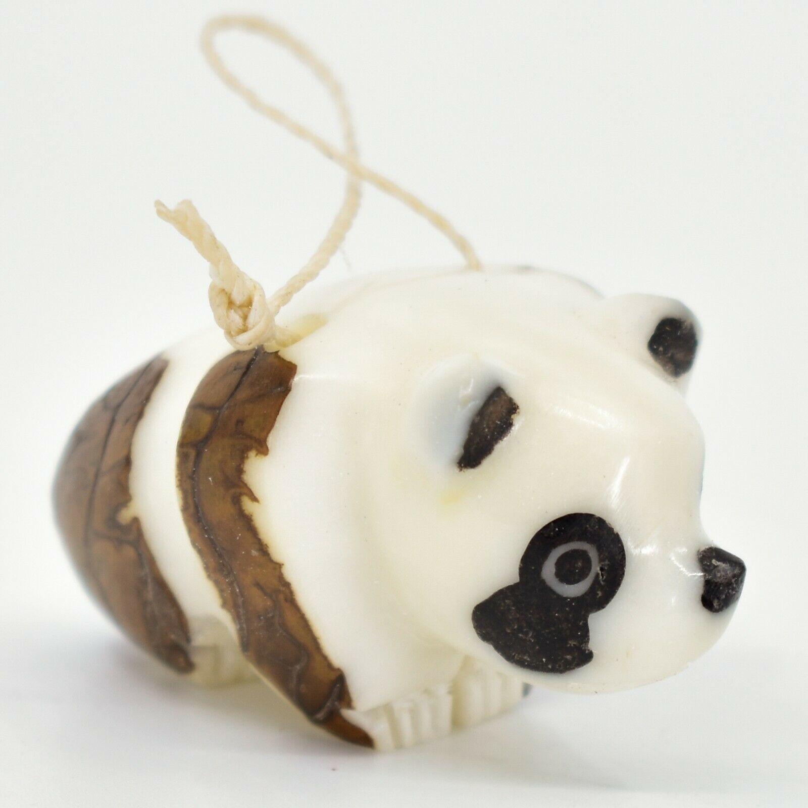 Hand Carved Tagua Nut Carving Panda Bear Hanging Ornament Handmade in Ecuador