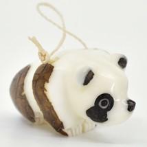 Hand Carved Tagua Nut Carving Panda Bear Hanging Ornament Handmade in Ecuador image 1