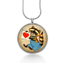 Raccoon holding a red heart jewelry love Necklace for her - handmade gifts - $18.32