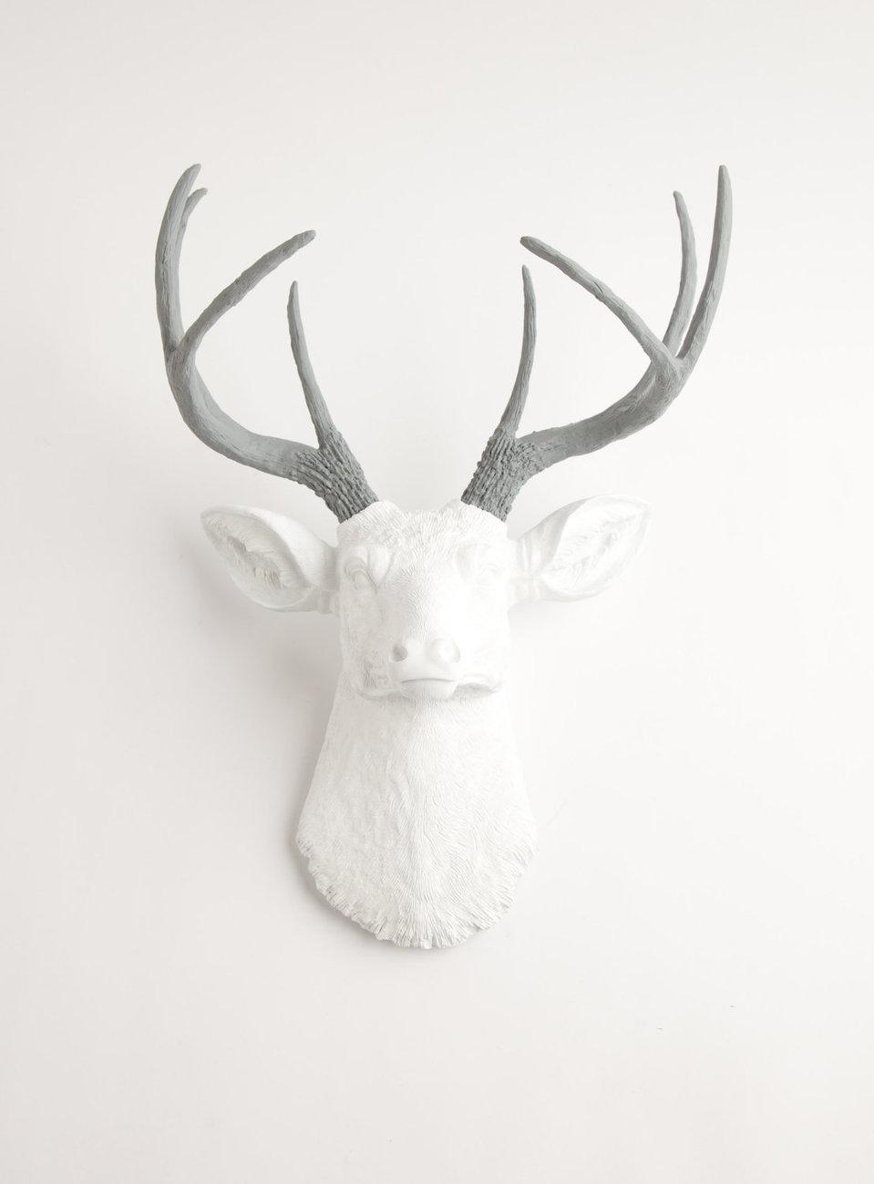 The Helena White W Gray Antlers Resin Deer Head Faux