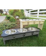 "15"" TRIPLE DISH ELEVATED DOG FEEDER - Custom Color Combos Amish Handmade... - $137.17"
