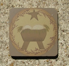 31863bj - True Meaning of Christmas Magnet Primitive wood  - $1.75