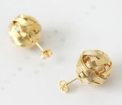 Cute Metal Ball Braided Stud Earrings(Golden) - $5.99