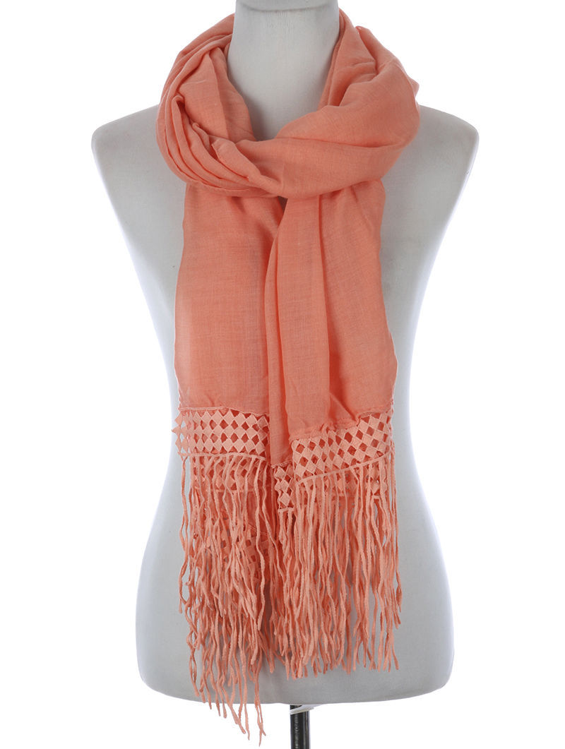 Fancy Fringe Trimmed Scarf U Pick Color Black Peach White or Mint Green