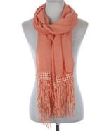 Fancy Fringe Trimmed Scarf U Pick Color Black Peach White or Mint Green - $12.99