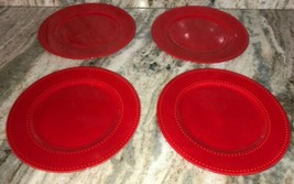 "4 Royal Norfolk Red 10 1/2""Dinner Plates Christmas Holiday Valentines Daily NEW - $58.68"