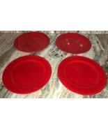 "4 Royal Norfolk Red 10 1/2""Dinner Plates Christmas Holiday Valentines Da... - $49.88"