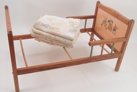 1950s Wooden Doll Bed w/ Bunny Family Headboard Pastel Spindles + Baby B... - $71.23