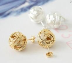 Cute Metal Ball Braided Stud Earrings(Silver) - $5.99