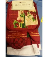 5 pc KITCHEN SET: 2 POT HOLDERS,1 OVEN MITT, 2 TOWELS, WINE & GRAPES ON ... - $13.85
