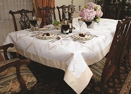 "Violet Linen Dainty Embroidered Design Oblong/Rectangle Tablecloth, 70"" ... - $59.09"