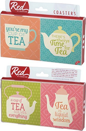 You're My Cup of Tea Sayings 4 Piece Absorbent Ceramic Coaster Set