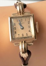 Vintage ONSA 14K Rose Gold 17 Jewels Ladies Swiss Watch 117, 5184 Squire... - $246.51