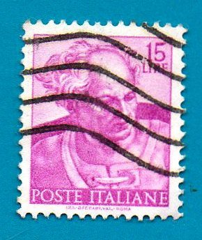 Used Italian Postage Stamp (1961) 15 lyre Designs From Sistine Chapel by Michela