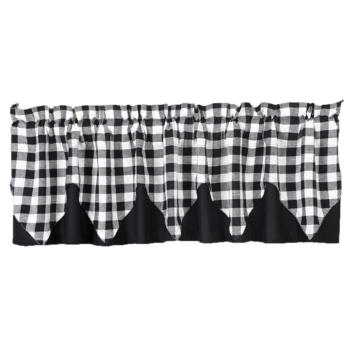 BUFFALO BLACK CHECK Valance Layered Lined - 16x72 - Jet Black/Cotton White - VHC